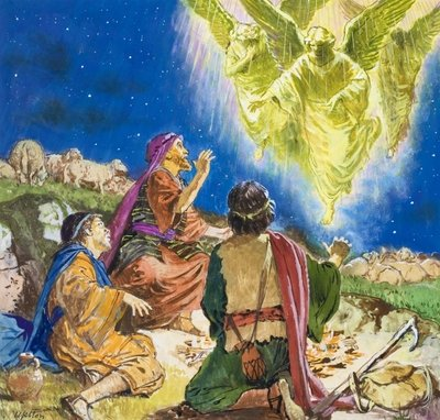 The First to be Told About Jesus (gouache on paper) Wall Art & Canvas Prints by Clive Uptton