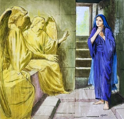 The Angels in the Tomb (gouache on paper) Wall Art & Canvas Prints by Clive Uptton