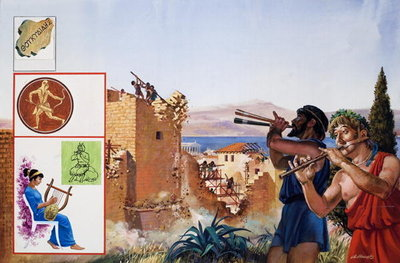 Relieved to have peace at last, the defeated Athenians set to work to demolish their defensive walls to the accompaniment of flutes, 1981 (gouache on paper) Postcards, Greetings Cards, Art Prints, Canvas, Framed Pictures & Wall Art by Andrew Howat