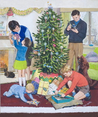 Christmas Morning (gouache on card) Postcards, Greetings Cards, Art Prints, Canvas, Framed Pictures, T-shirts & Wall Art by Clive Uptton