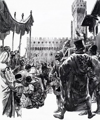 The Fanatic of Florence, from 'History's Heroes', 1973 (gouache on paper) Wall Art & Canvas Prints by C.L. Doughty