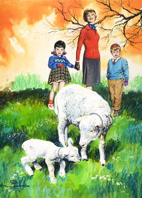 Sheep, illustration from 'Teddy Bear', 1965 (gouache on paper) Wall Art & Canvas Prints by Jesus Blasco
