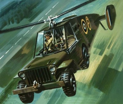 Into the Blue: The Flying Jeep Fine Art Print by Wilf Hardy