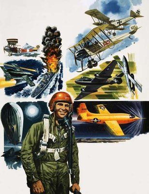 Unidentified pilot against a montage of aircraft Fine Art Print by English School