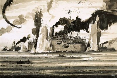 The sinking of the Lancastra off St Nazaire in June 1940 Fine Art Print by John S. Smith