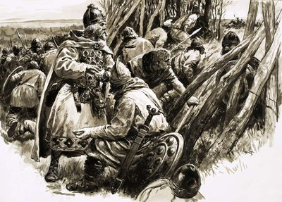 With a small band of loyal followers, King Alfred retreated into the marshes Fine Art Print by C.L. Doughty