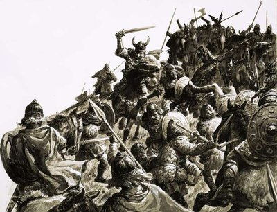 Danish Vikings attack the British forces under King Alfred Fine Art Print by C.L. Doughty