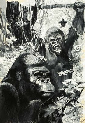 Gorillas Fine Art Print by Leslie Field Evans