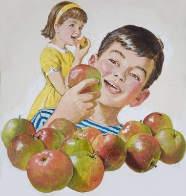 Boy and Girl with Apples Wall Art & Canvas Prints by Clive Uptton