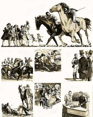 Unidentified story of a jockey Fine Art Print by English School