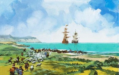 Ships arriving Wall Art & Canvas Prints by English School