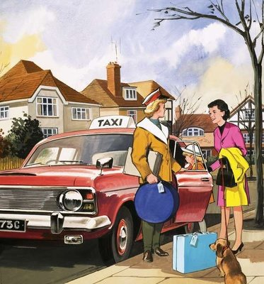 Taxi Girl Wall Art & Canvas Prints by English School