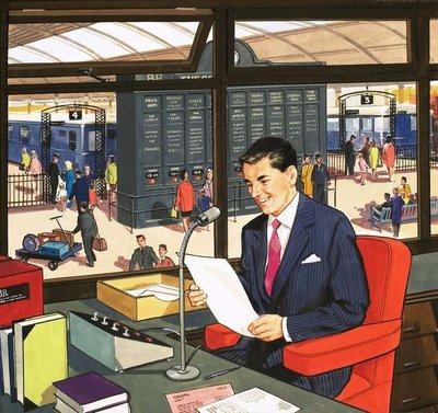 Railway Station Announcer Wall Art & Canvas Prints by English School