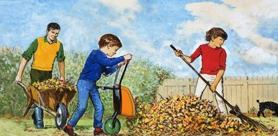 Sweeping up autumn leaves Fine Art Print by Clive Uptton