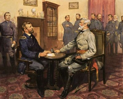 General Grant meets Robert E. Lee Fine Art Print by English School