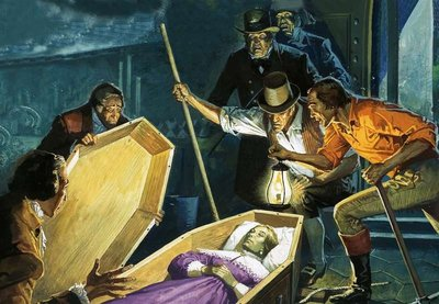 Unidentified tomb raiders opening a coffin to discover the body of a woman Fine Art Print by Andrew Howat