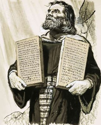 Moses and the Ten Commandments Fine Art Print by Clive Uptton