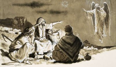 Shepherds approached by angel Fine Art Print by Clive Uptton