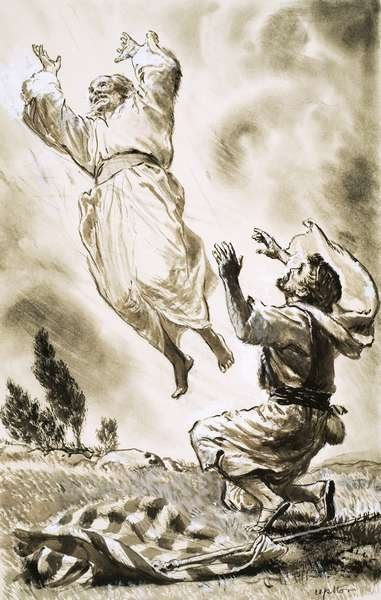 Unidentified Biblical scene of man ascending to heaven Fine Art Print by Clive Uptton