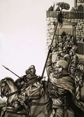 Camelot, the castle of King Arthur and his Knights of the Round Table Fine Art Print by Richard Hook