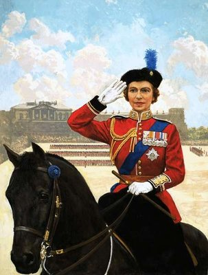 Queen Elizabeth II trooping the colour Fine Art Print by Clive Uptton