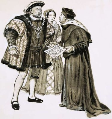 Cardinal Wolsey could not change Henry's mind about marrying Anne Boleyn Poster Art Print by Clive Uptton