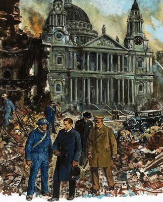 King George VI inspects the wreckage outside St Paul's Cathedral Poster Art Print by Clive Uptton