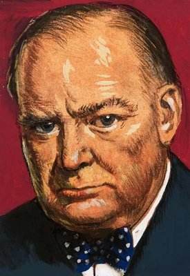 Winston Churchill Fine Art Print by Clive Uptton