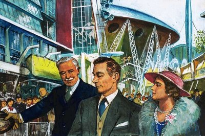 George VI opens the Festival of Britain Poster Art Print by Clive Uptton