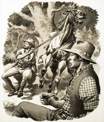 On the Run: Hunted -- By a Hundred Human Bloodhounds Poster Art Print by English School
