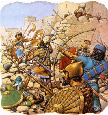 Ruthless Assyrian 'sappers' attacking giant walls with hammers and crowbars Fine Art Print by Pat Nicolle