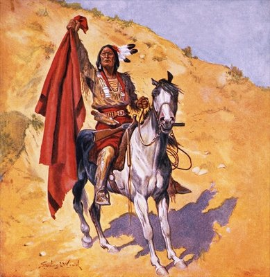 The blanket Indian Wall Art & Canvas Prints by Stanley L. Wood
