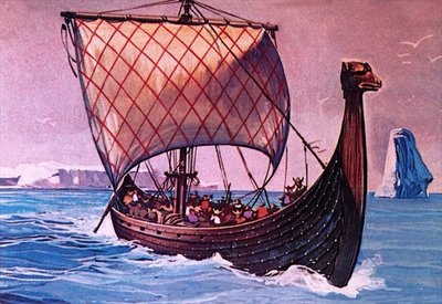 Viking ship Fine Art Print by English School