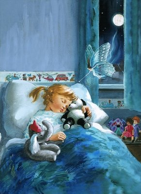 Girl in bed attended by fairy Poster Art Print by English School