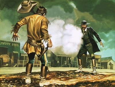 Wyatt Earp at work in Dodge City Fine Art Print by Ron Embleton