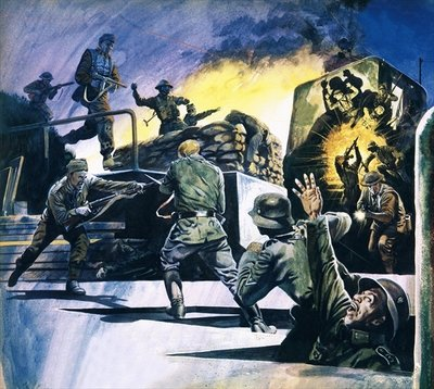 British Commandos in action Fine Art Print by English School