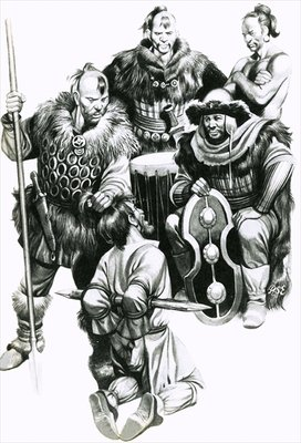 Attila the Hun torturing a captive Fine Art Print by Ron Embleton