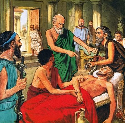 Hippocrates discouraging the use of primitive medical techniques Poster Art Print by Clive Uptton