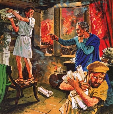 Galen trying to rescue his manuscripts during the great fire of Rome in AD 191 Fine Art Print by Clive Uptton