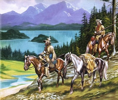 Trappers in the Wild West Fine Art Print by Ron Embleton
