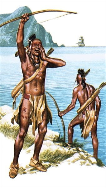 Red Indians seeing a European ship for the first time Fine Art Print by Ron Embleton