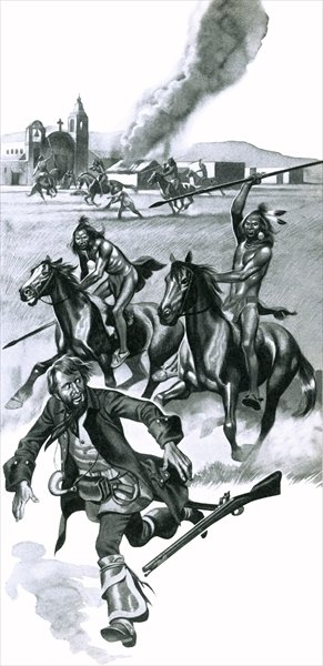 Comanche indians attacking Spanish missionaries in Texas Fine Art Print by Ron Embleton