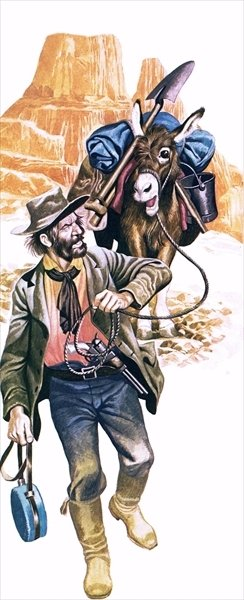 Californian gold prospector Fine Art Print by Ron Embleton