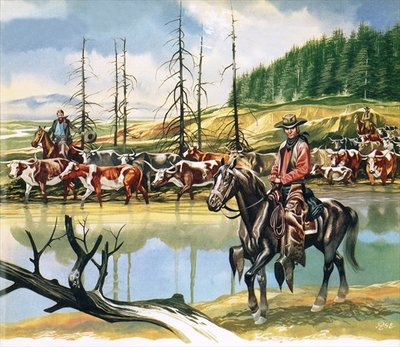 Texan cowboys driving cattle north Fine Art Print by Ron Embleton