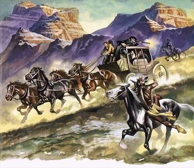 Red Indians attacking a stage coach Fine Art Print by Ron Embleton
