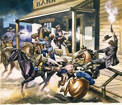 Bank robbery taking place in the Wild West Fine Art Print by Ron Embleton