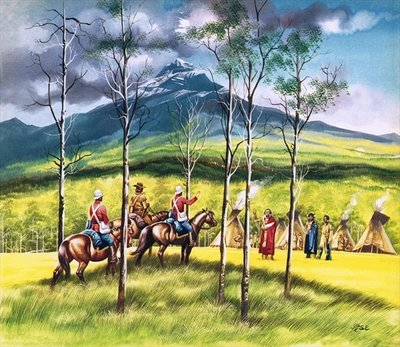 Mountie, James Walsh, meeting Sitting Bull to persuade him of the need for peace Fine Art Print by Ron Embleton