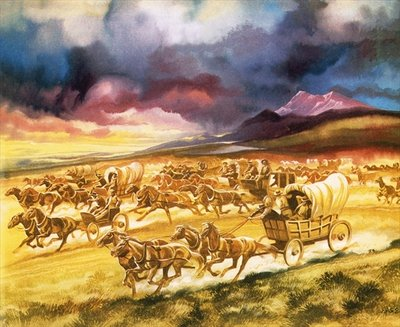 Settlers on a land race into Indian territory Fine Art Print by Ron Embleton