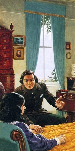 Robert Browning with his invalid wife, Elizabeth Barrett Browning Poster Art Print by Clive Uptton