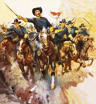 Charge of the US cavalry Wall Art & Canvas Prints by James Edwin McConnell
